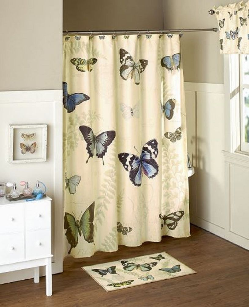Bathroom Butterfly Collection Shower Curtain Set Vibrant Design