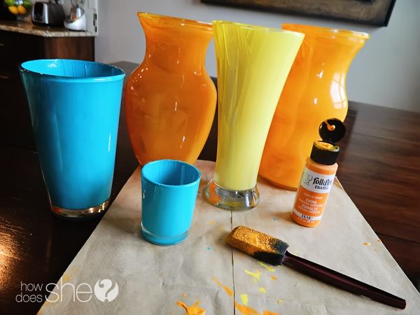 Get your old vases and repurpose them! Gorgeous color BAKED vases. Brilliant!