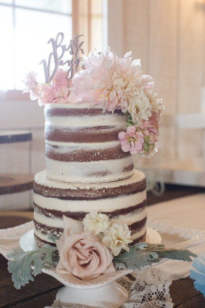 Elegant Rustic Wedding Cake Idea   Semi Naked Wedding Cake   Two Tier, Barely