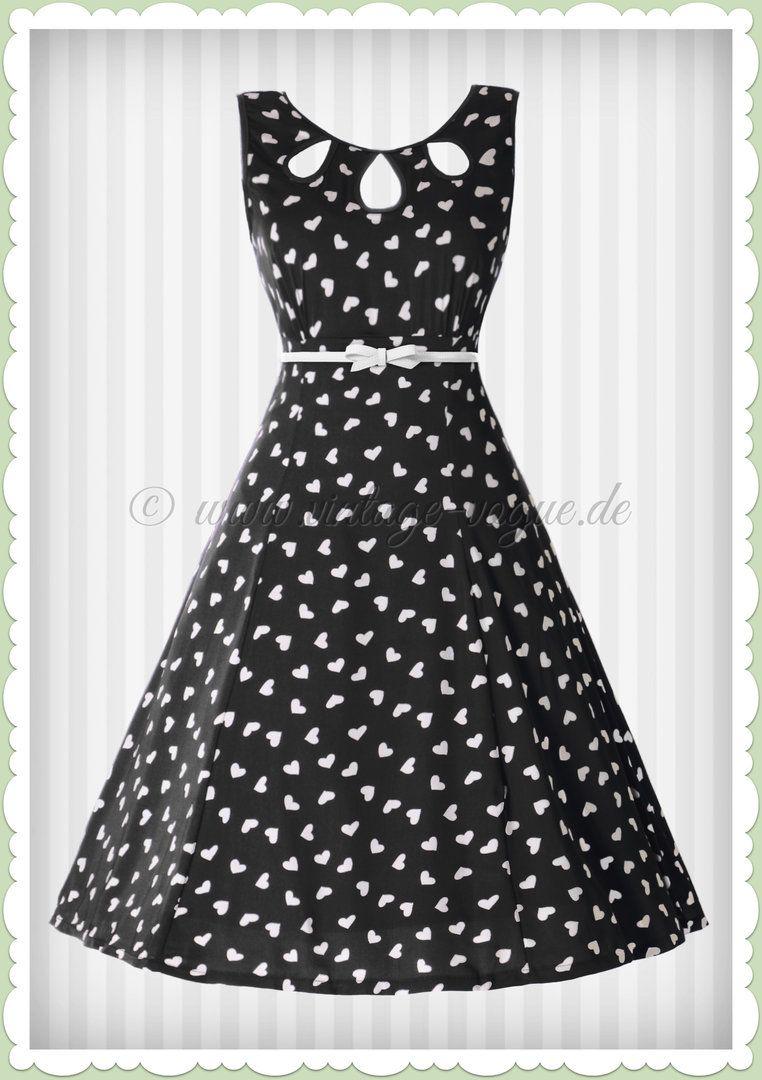 Banned 50er Jahre Rockabilly Keyhole Herzen Swing Kleid Songbird Schwarz Swing Kleid Kleider Damenkleider