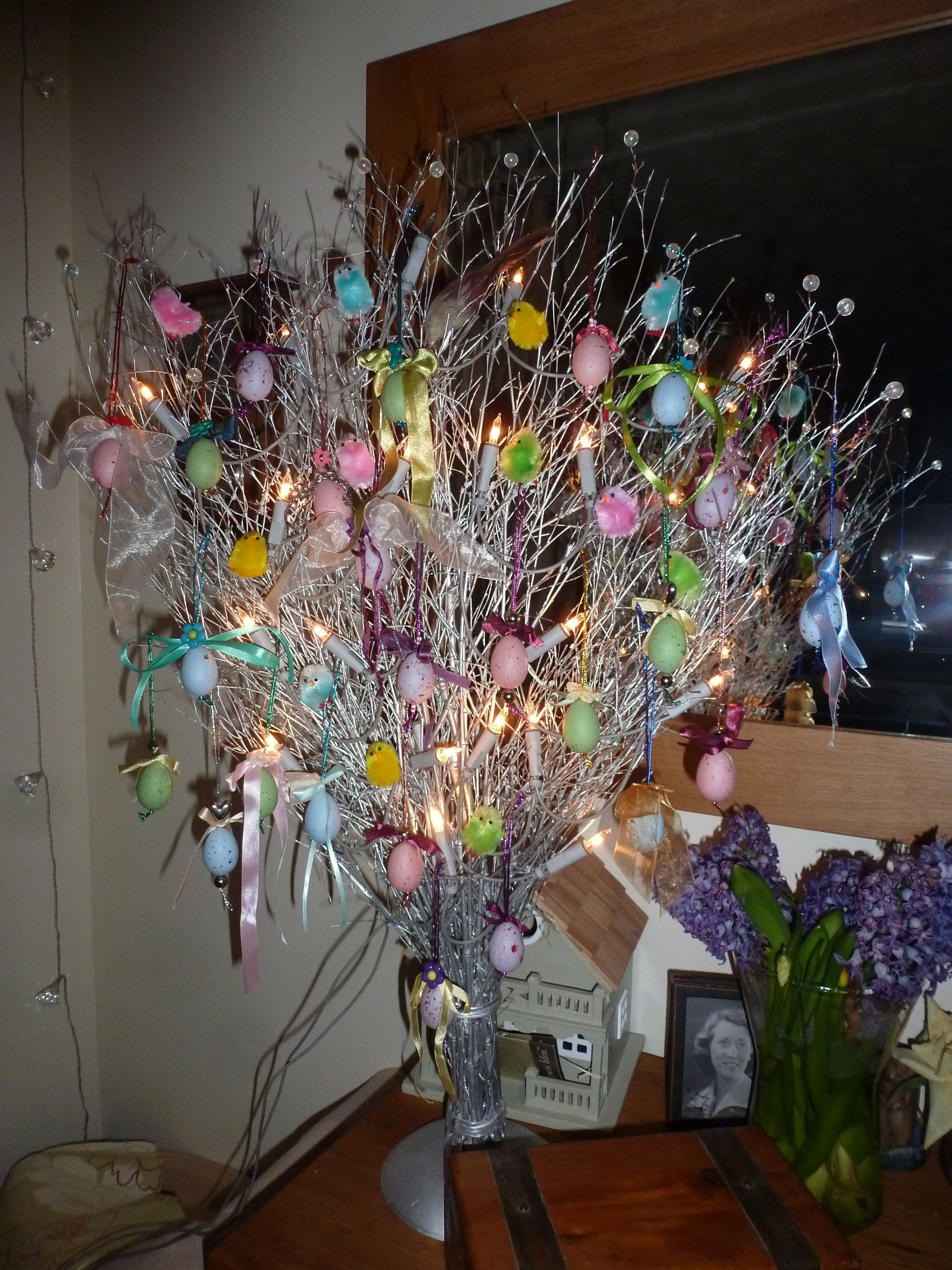 Easter wedding bouquets  Easter tree Small hollow plastic eggs decorated with ribbons and