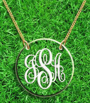 Monogram Necklace Hand Made Custom Clear Acrylic by CrazyDazyyy, $26.99