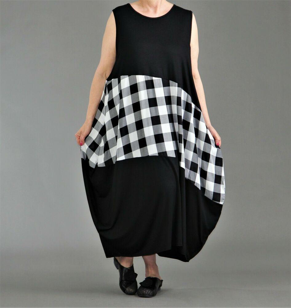 ♢ AKH Fashion Ballon-Kleid Gr. 15,15,15,15 schwarz-weiß Karo