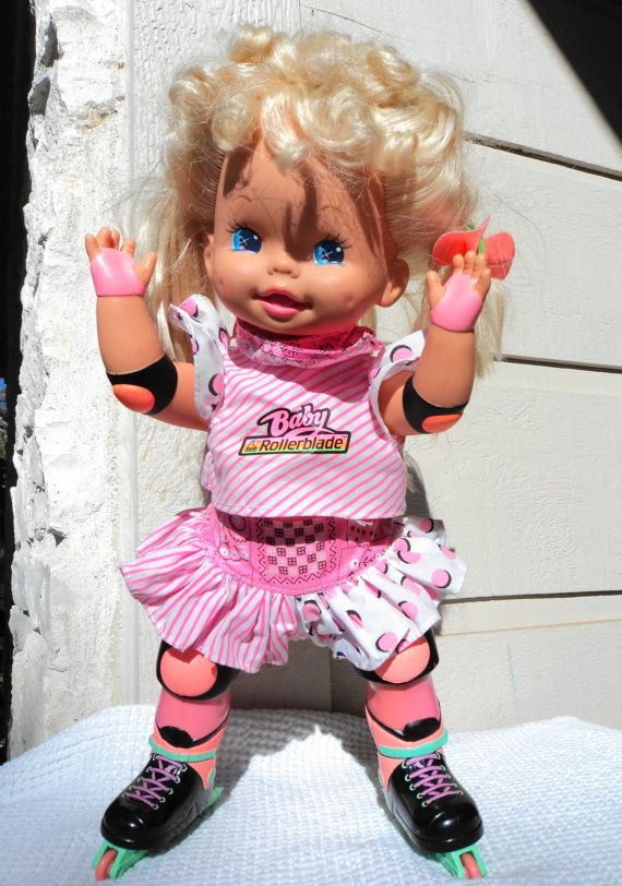 80s roller baby roller blade skate doll by peaceocake on Etsy, I had this one maybe still do somewhere