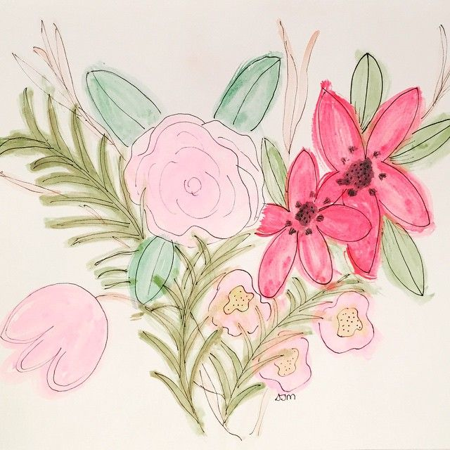 Flowers - playing with watercolors #watercolor #flowers #art #artjournal #pink #green #doodle #black