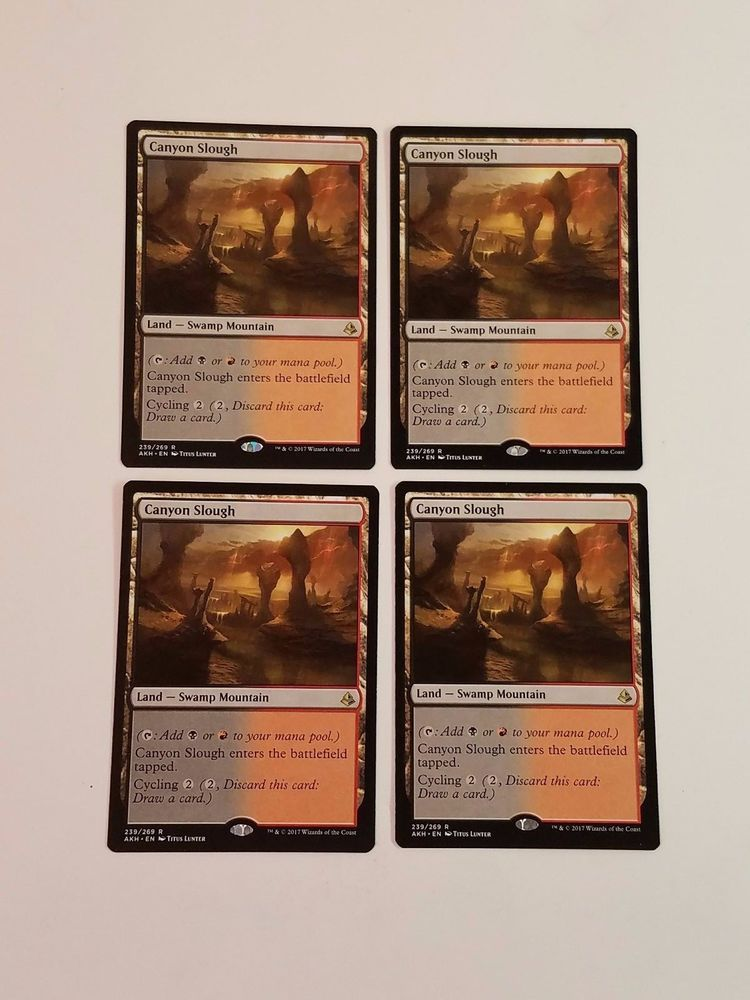 Mtg Magic 4x Canyon Slough Land Rare Amonkhet Card Lot Red Black Cycling Playset Wizardsofthecoast Black And Red Slough Mtg