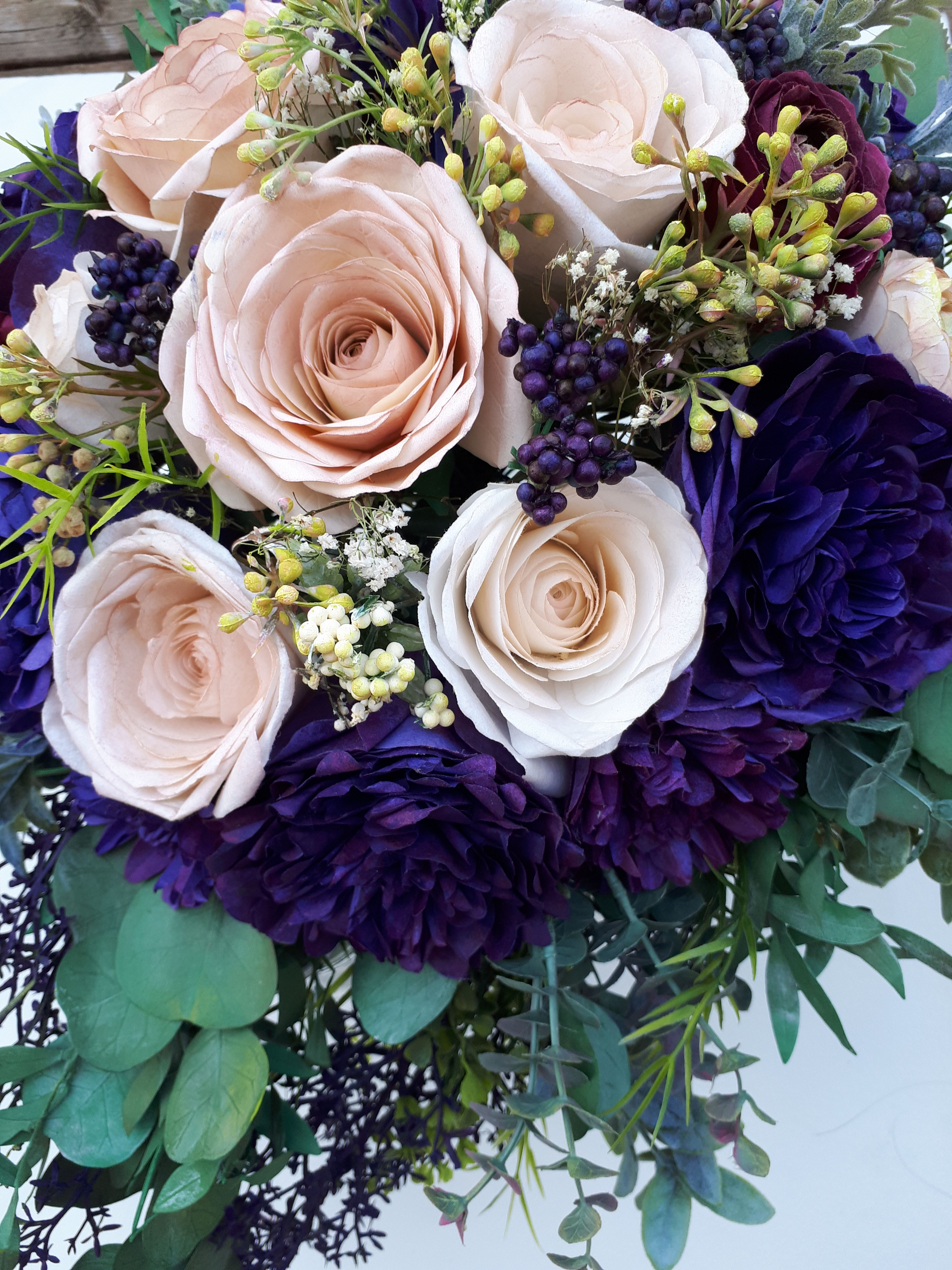 Pin by roses n lace studio on paper flower bouquets pinterest handcrafted paper brides bouquet made from crepe coffee filter paper izmirmasajfo