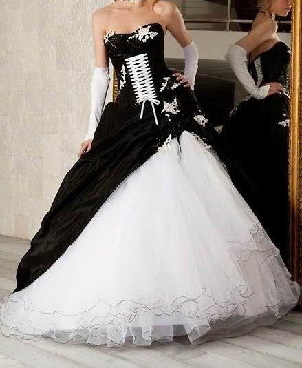 Gothic Wedding Dresses 2016 A Line Strapless Black Taffeta: Black And White Wedding Dress