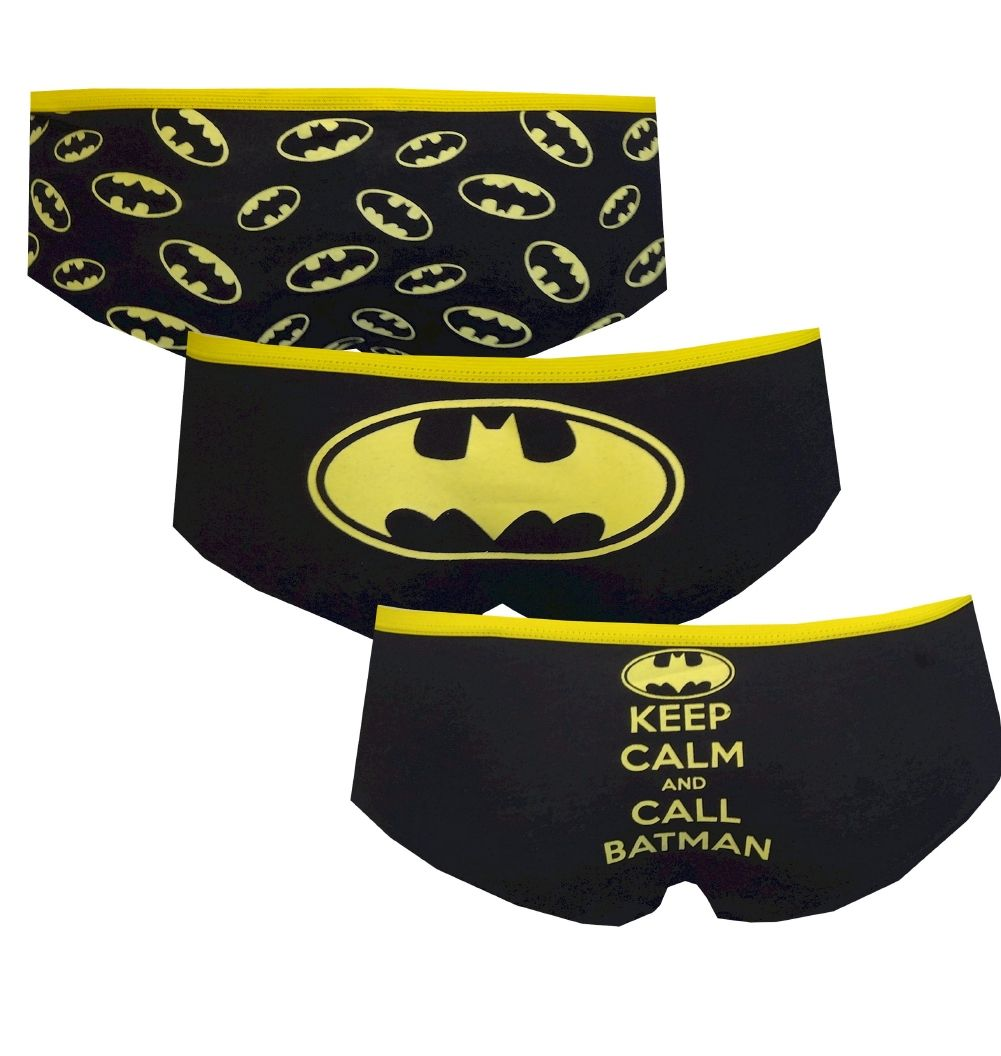DC Comics Batgirl 3 Pack Glow in the Dark Hipster Briefs, $19 Calling all Batgirls...these are the panties you have been waiting for! This hipster 3 pack features a classic logo design in an all over print, a signature logo pair, and a Keep Calm pair. The best part? They are glow in the dark! You never know when that could be handy... These soft, premium fabric panties are a junior cut. Shown here from the rear.