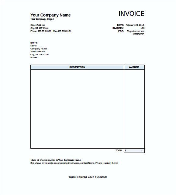 Ms Word Invoice Template Doc From New Download Blank Invoice Free