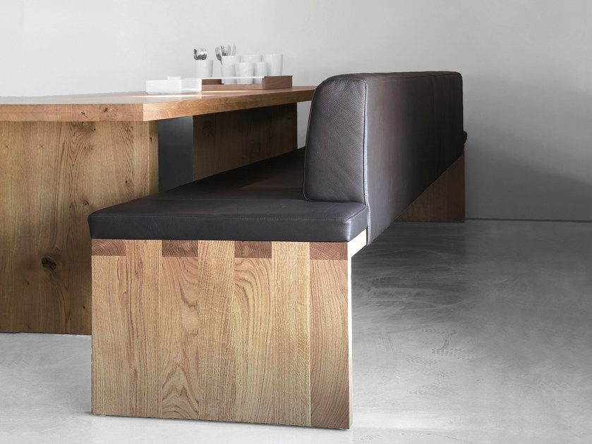 Upholstered wooden bench with back SC02 | Upholstered ...