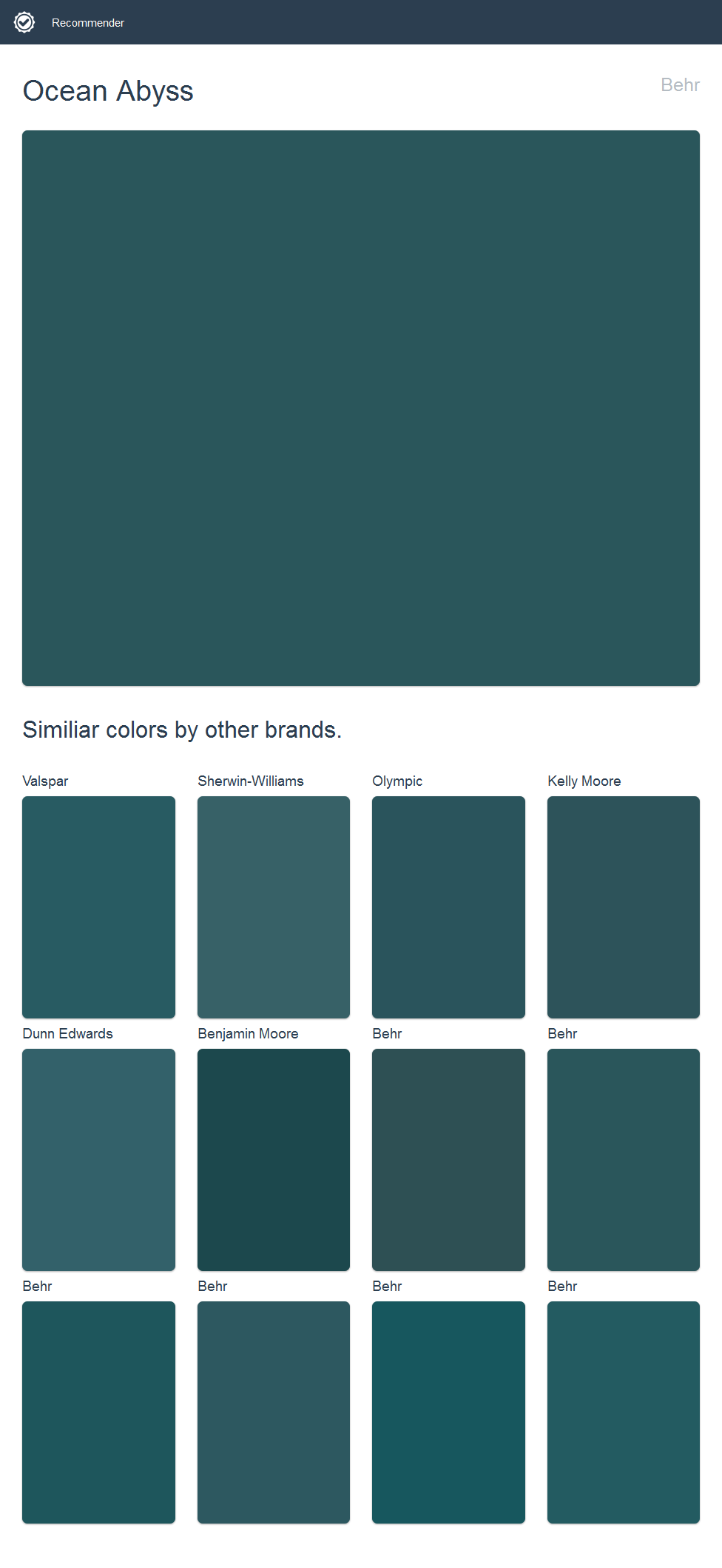 Ocean Abyss Behr Click The Image To See Similiar Colors By Other Brands House Paint Exterior Dutch Boy Paint Olympic Paint