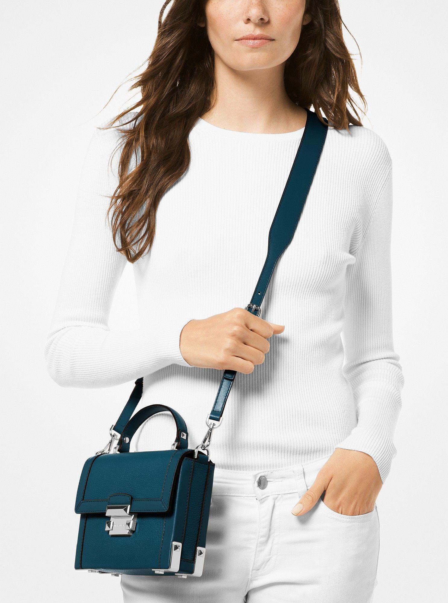 1dd1054e3338f Michael Kors Jayne Small Pebbled Leather Trunk Bag - Teal