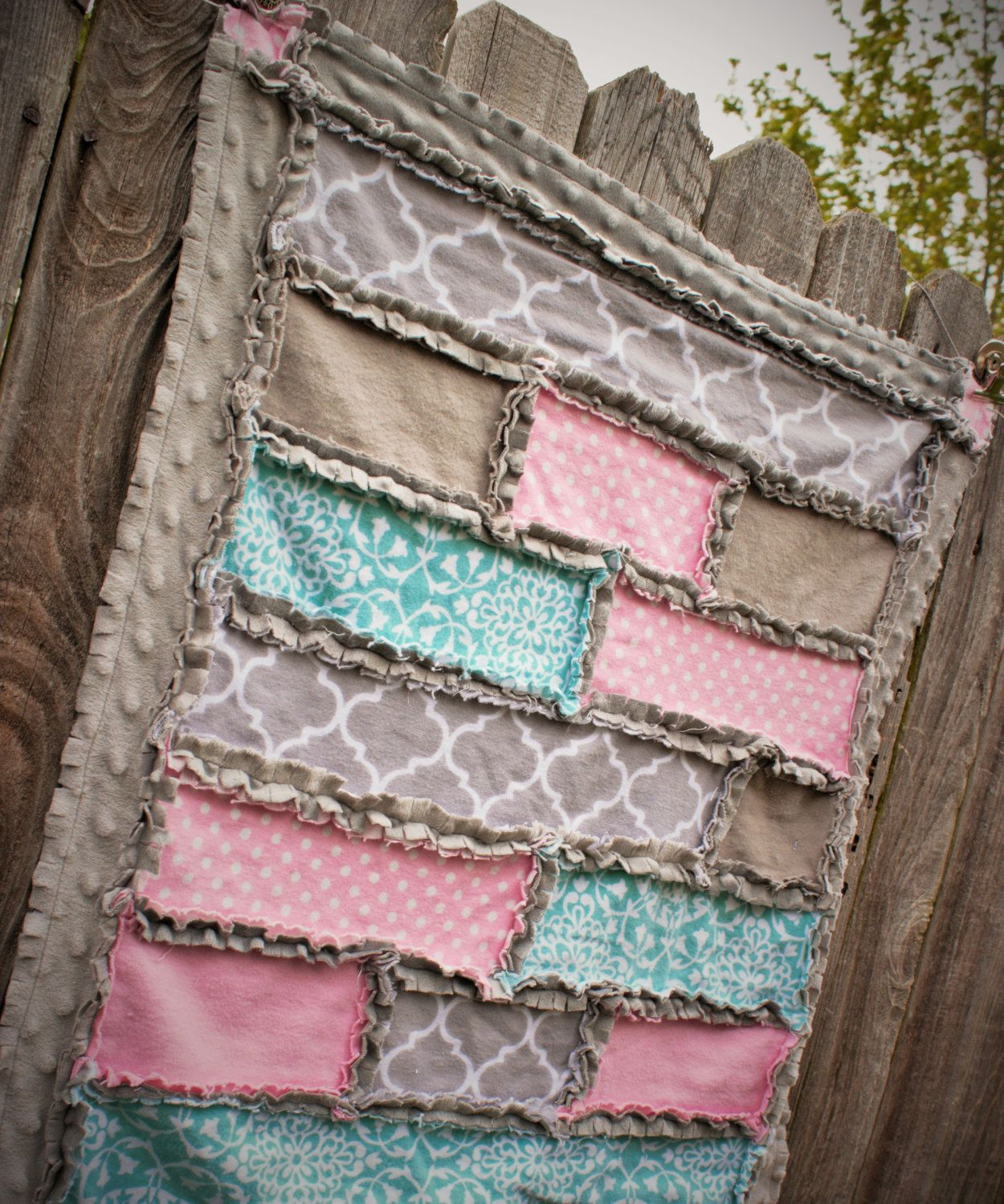 Pink Gray And Mint Strip Rag Quilt By Babybazerk On Etsy