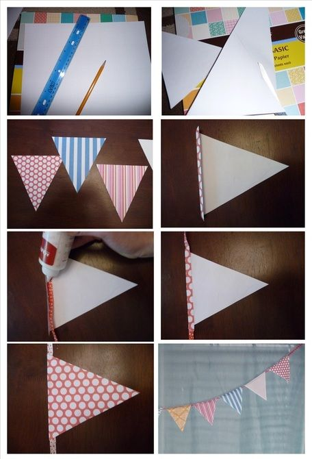 Diy paper pennant banner tutorial love these as a pretty and diy paper pennant banner tutorial love these as a pretty and inexpensive wedding decoration junglespirit Images