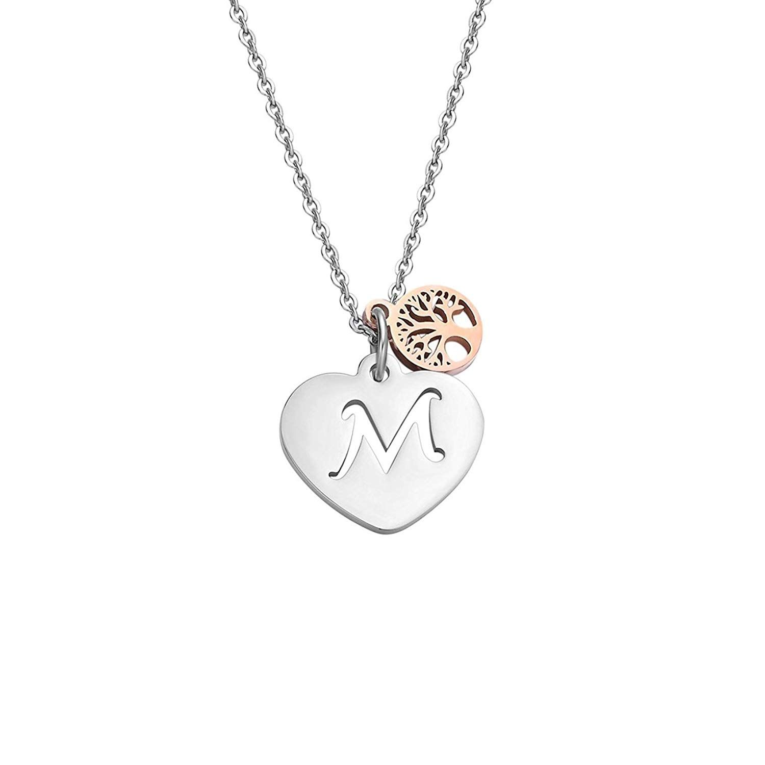 291dfb60cd9 BRBAM Initial Heart Necklace Stainless Steel Heart Pendant Hollow Out  Design Initial Necklace Tree of Life Necklace Jewelry for Girls and Women      Check ...