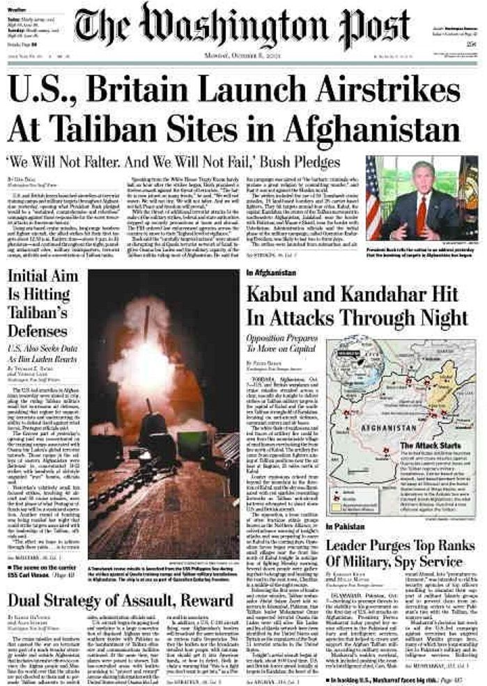 October 7, 2001 - The Washington Post newspaper headlines - newspaper headline template