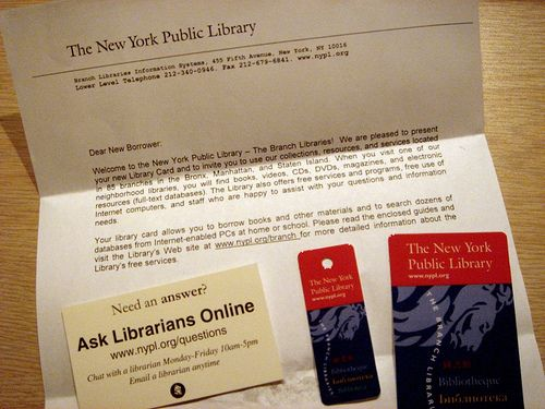 New York Public  Library Cards    Library Cards