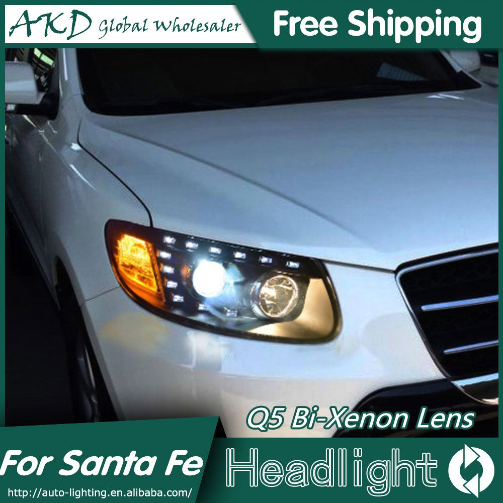 Akd Car Styling For Hyundai Santa Fe Headlights 2007 2013 New Santa Led Headlight Led Drl Bi Xenon Lens High Low Beam Parking Led Headlights Hyundai Headlights