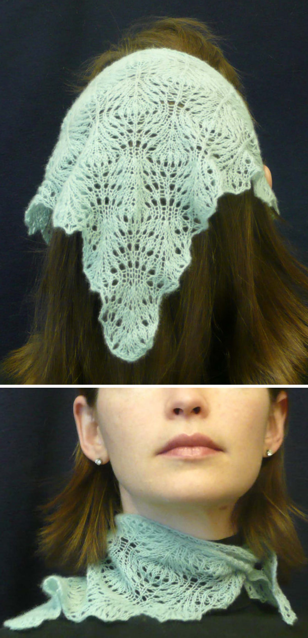 Free Knitting Pattern for Ostrich Feather Kerchief - Lace head and neck scarf byDawn Prickett.
