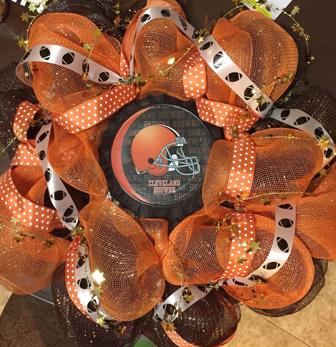 Cleveland Browns Mesh Wreath Mesh wreaths, Wreaths