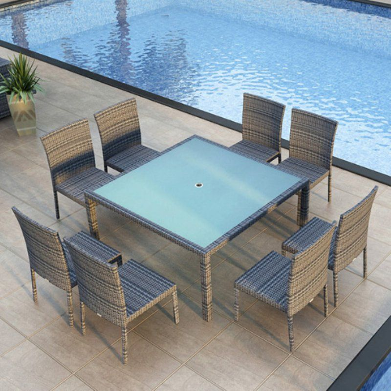 Harmonia Living Urbana 9 Piece Square Outdoor Dining Set Coffee Bean Without Cushion - HL-URBN-CB-9SDS-NC