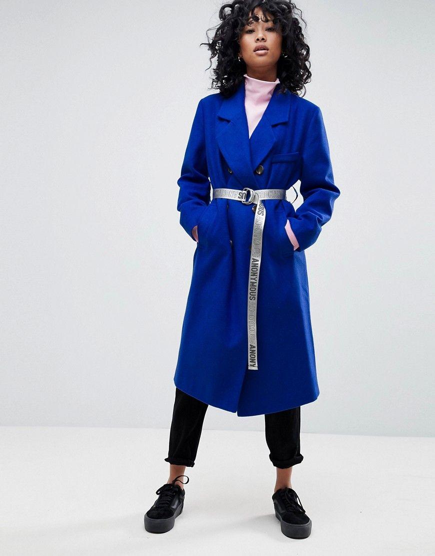 Verkauf Suchen Verkauf Heißen Verkauf Oversize-Mantel mit farblich abgesetztem Gürtel - Blau Asos Große Überraschung RV0Bo