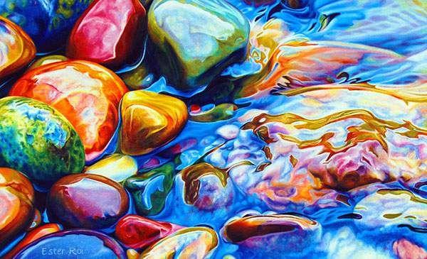 色鉛筆とクレヨンだけで描いたカラフルな小石の絵水の柔らかさもリアル