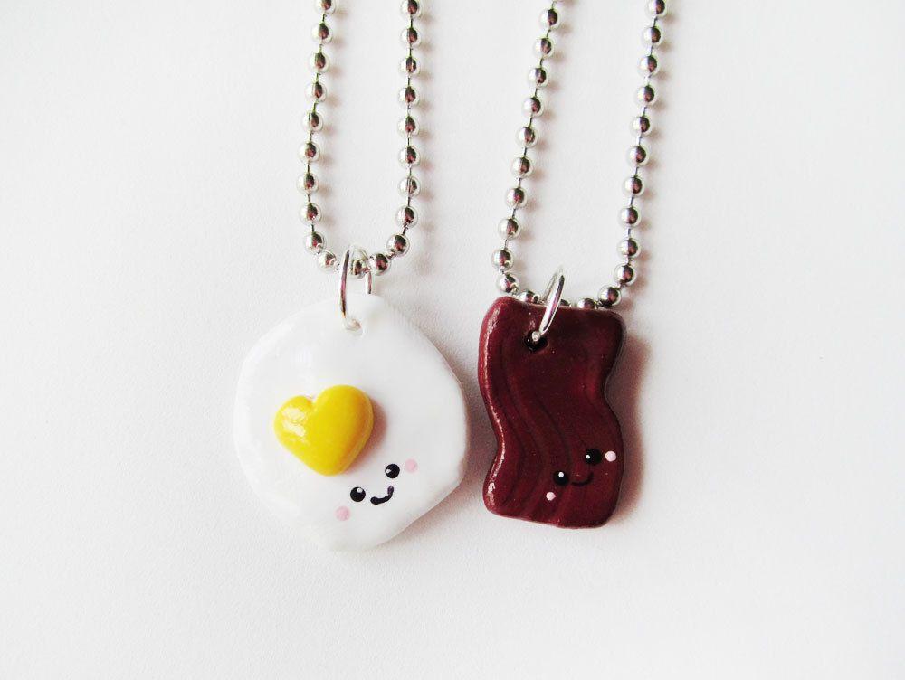 Bacon and eggs best friend necklace set friend necklaces