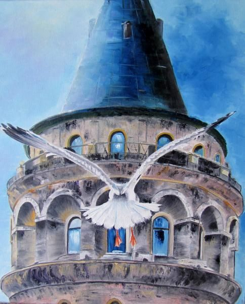 Galata Tower, painted by Berrin Duma. SOLD