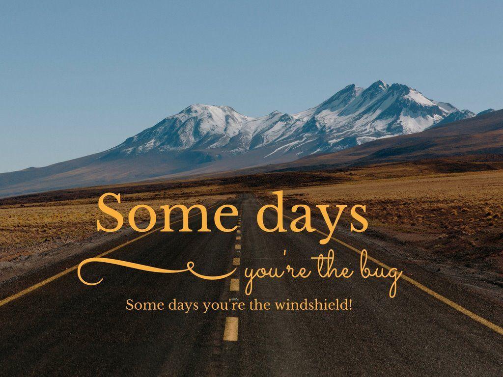 Some Days You Re The Bug Some Days You Re The Windshield Someday Windshield Words