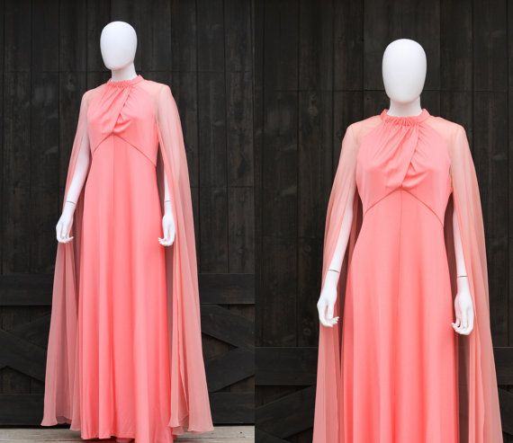 Vintage 70s Disco Grecian Goddess Maxi Cape Dress Coral Pink (XS to S)