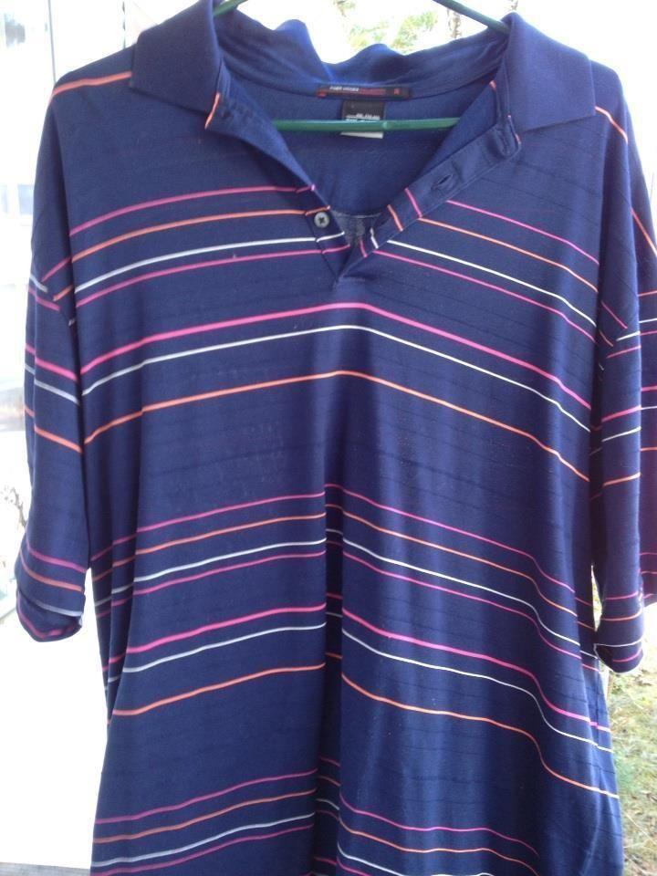 f59d1db5 Men's TIGER WOODS Nike FIT DRY Golf Shirt Short Sleeve XXL TTG EEG blue  striped #NikeGolfTigerWoods #GolfPoloFitDry