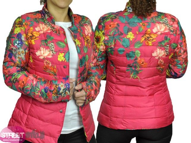 Hit Pikowana Kurtka Kwiatki Amarant S 36 4039567112 Oficjalne Archiwum Allegro Winter Jackets Fashion Jackets