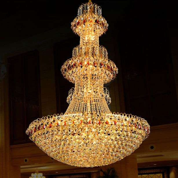Gold crystal chandelier led lamp modern crystal chandeliers lights gold crystal chandelier led lamp modern crystal chandeliers lights fixture hotel club home lighting hanging lights ac90v 260v aloadofball Image collections