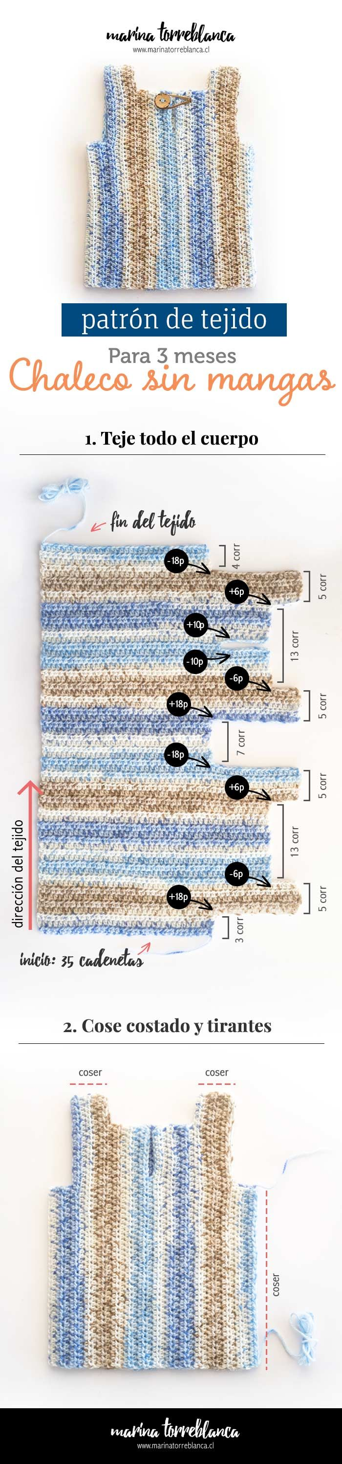 Chaleco sin mangas a crochet para 3 meses [Patron de tejido ...