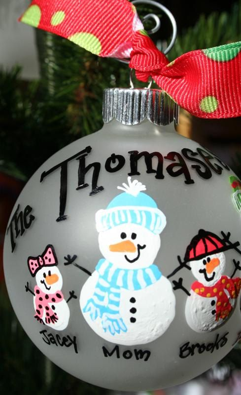 Ideas a nice youngsters project using plastic ball ornament hand painted christmas ornament snow people family ornament via etsy solutioingenieria Choice Image