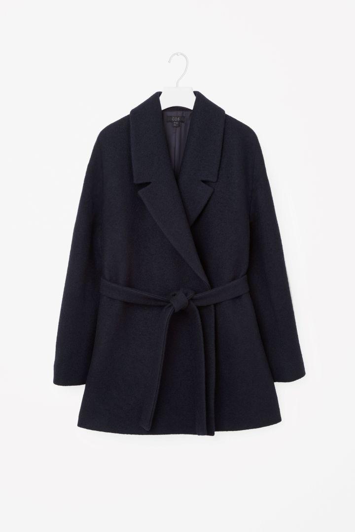 COS image 4 of Short belted wool coat in Navy | Tildes Juleønsker ...
