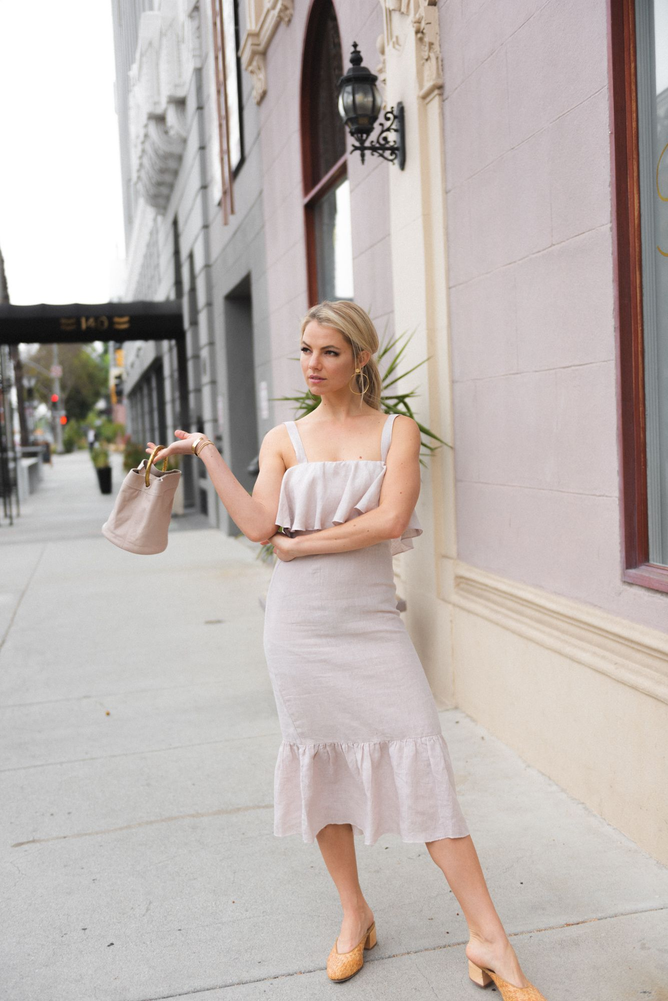 2d0506eab8a Winston White Lavender Linen Ruffle Midi Dress Ivory Cleobella Bucket Bag  Woven Mules James Smith Midi Dress Brides Maid Dress Gold Accessories Block  Heel ...
