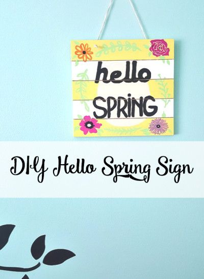 DIY hello Spring sign, a great spring/Easter craft project.