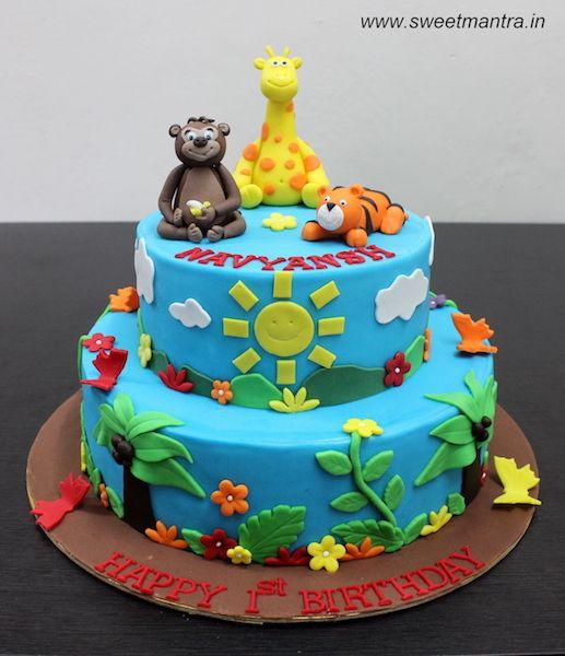AnimalJungle theme 2 layer customized designer fondant cake for