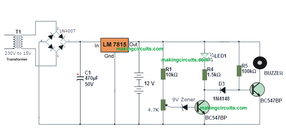 This Is A Simple 12v Battery Charger Circuit With Indicator Circuit Is A Smart Charger Circ Battery Charger Circuit Battery Indicator Automatic Battery Charger