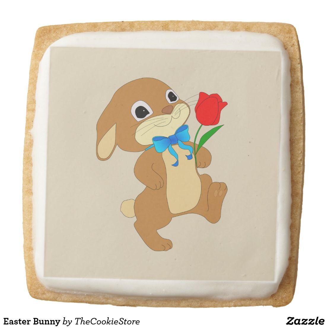 Easter bunny square shortbread cookie