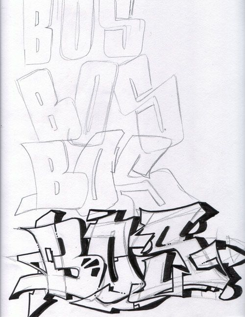 Graffiti bos apprendre le graff en 2019 pinterest lettrage graffiti lettre graffiti et dessin - Lettre graffiti modele ...