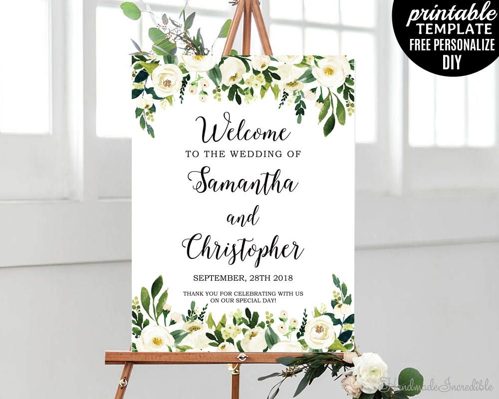 White Florals Welcome Poster Template Editable Ivory Floral
