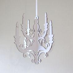 White chandelier small laser cut cardboard diy by seequin on etsy white chandelier small laser cut cardboard diy aloadofball Choice Image