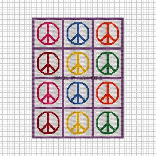 Cozyconcepts Peace Signs For Scraps Crochet Afghan Pattern Graph