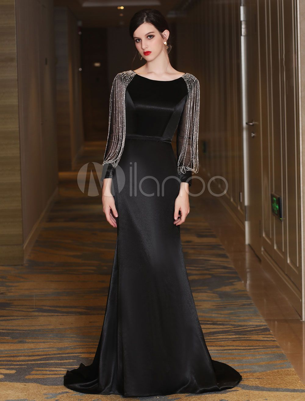 Black Evening Dresses Luxury Mermaid Mother Dress Long Sleeve Chains Beading Formal Occasion Dresses With Train