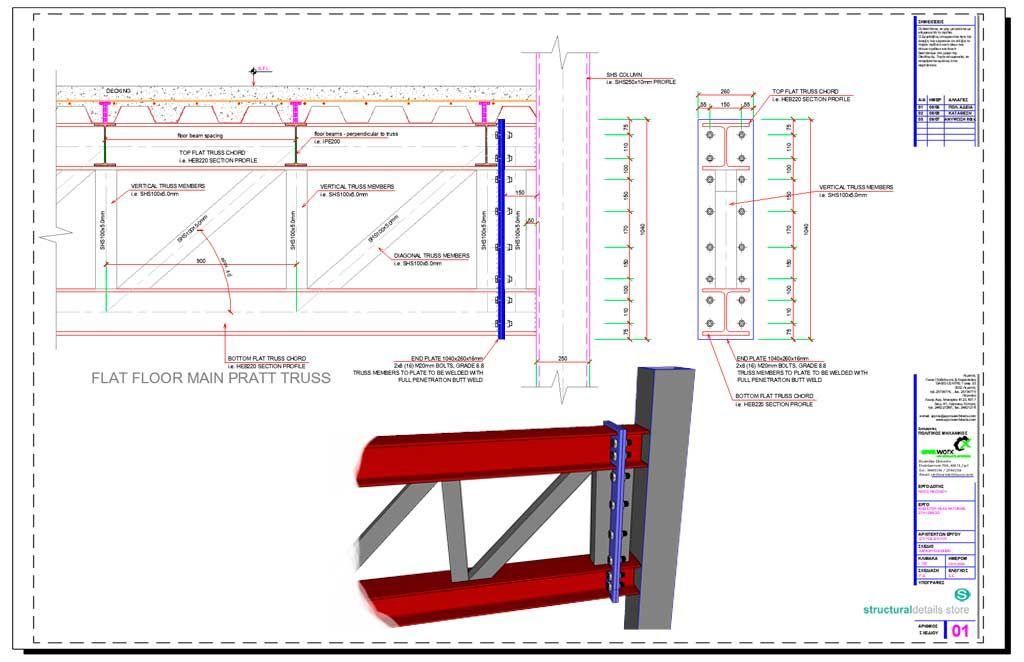 Steel Floor Flat Pratt Truss Support To Shs Column Steel Trusses Steel Architecture Steel
