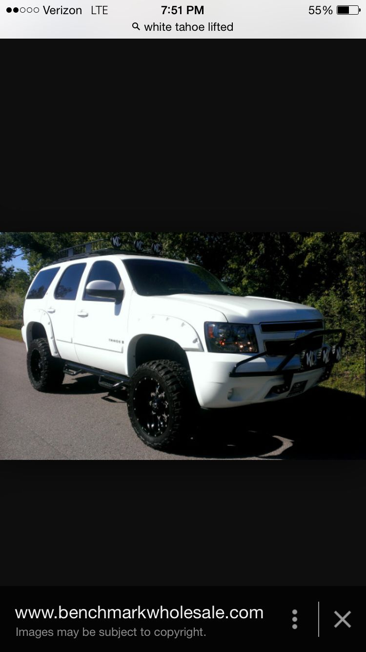This Is Exactly What My Tahoe Is Going To Look Like Minus Brush Guard Roof Rack And Headlights White Tahoe Tahoe Roof Rack